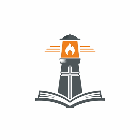 Church logo. Gods lighthouse and the Holy Scripture