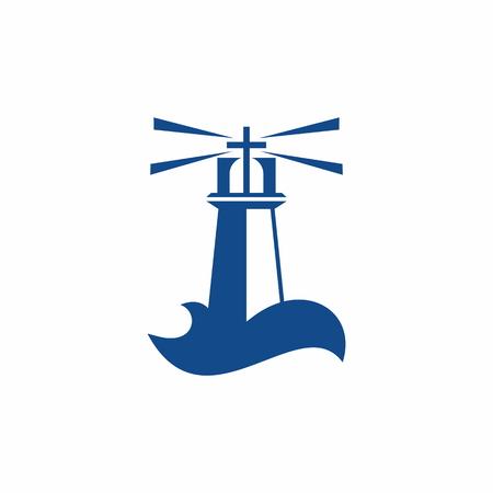 Church logo. God's lighthouse in the sinful world Illustration