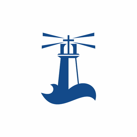 Church logo. God's lighthouse in the sinful world Vectores