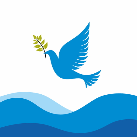 Church logo. Dove with branch, which Noah is released from the ark Illustration