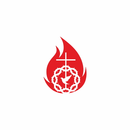 Church logo. Cross of Jesus Christ, crown of thorns and flame Illustration