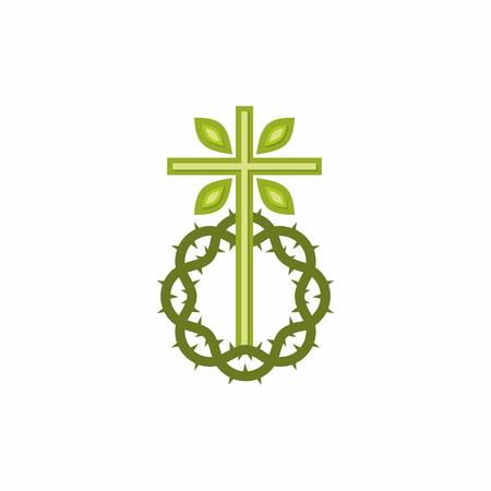 Kirchenlogo . Der Kreuz Jesu Christi und die Dornenkrone Standard-Bild - 99640663