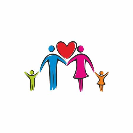 Church logo. A Christian family based on a love
