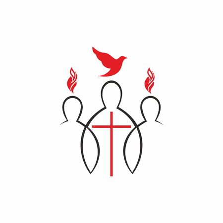 Church logo. Unity in Christ. The Descent of the Holy Spirit, Pentecost Vettoriali