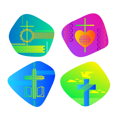 A set of bright colored Christian logos for the church, ministry, conference, camp, etc.