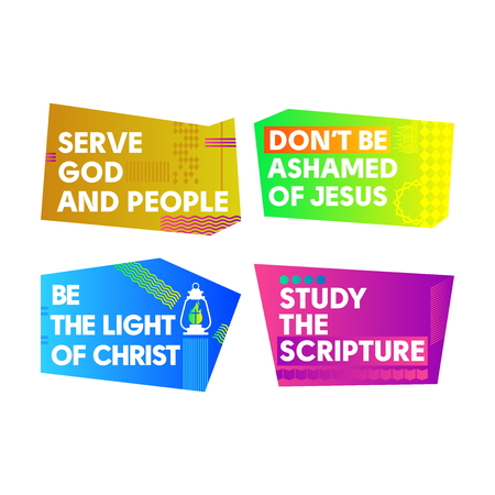 A set of bright colored Christian banners for the church, ministry, conference, camp, etc. Illustration