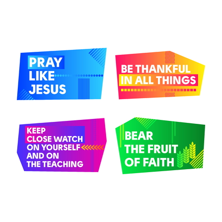 A set of bright colored Christian banners for the church, ministry, conference, camp, etc. Vectores