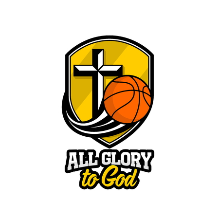 Athletic Christian logo. A golden shield, a cross of Jesus and a flying basketball. Emblem for competition, ministry, conference, camp, seminar, etc.