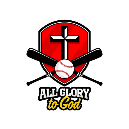 Athletic Christian logo. The golden shield, the cross of Jesus and the baseball with a bat. Emblem for competition, ministry, conference, camp, seminar, etc.