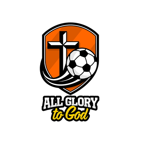 Athletic Christian logo. A golden shield, a cross of Jesus and a flying soccer ball. Emblem for competition, ministry, conference, camp, seminar, etc.