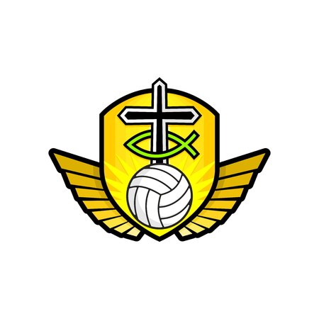 Christian sports logo. The golden shield, the cross of Jesus, the sign of the fish, the wings, and the volleyball. Emblem for competition, ministry, conference, camp, seminar, etc. Ilustração