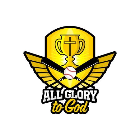 Athletic Christian logo. Gold shield, goblet, wings and baseball. Emblem for competition, ministry, conference, camp, seminar, etc. Ilustração