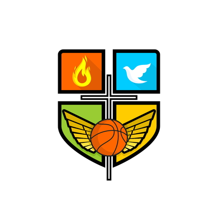 Athletic Christian logo. Cross of Jesus Christ, outstretched wings, flame, pigeon and basketball. Emblem for competition, ministry, conference, camp, seminar, etc.