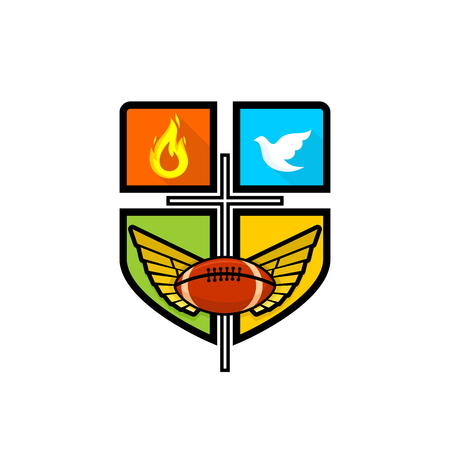 Athletic Christian logo. The cross of Jesus Christ, spread wings, flame, dove and rugby ball. Emblem for competition, ministry, conference, camp, seminar, etc. Ilustração