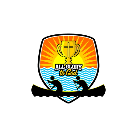 Athletic Christian logo. Competitions in a canoe. Cross cup on the background of the shield.