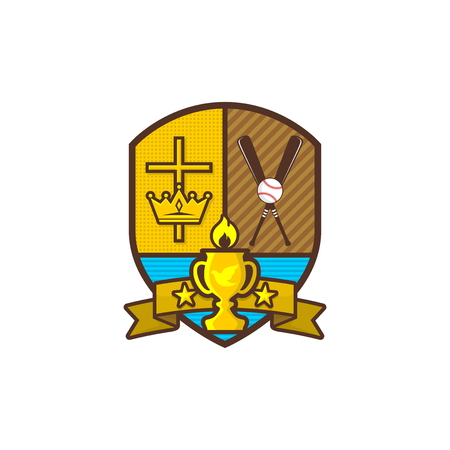 Christian sports logo. Shield, goblet, cross of Jesus, crown. A baseball and a bat. Emblem for competition, club, camp, tournament, ministry.