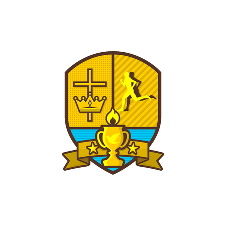 Christian sports logo. Shield, goblet, cross of Jesus, crown. Running Man. Emblem for competition, club, camp, tournament, ministry.