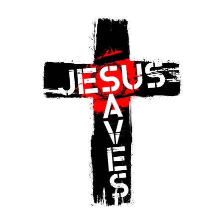 Bible lettering. Christian illustration. Jesus saves.