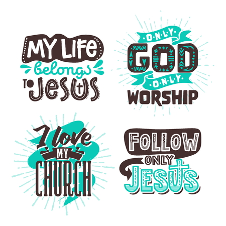 Christian typography and lettering. Illustrations of biblical phrases. 向量圖像