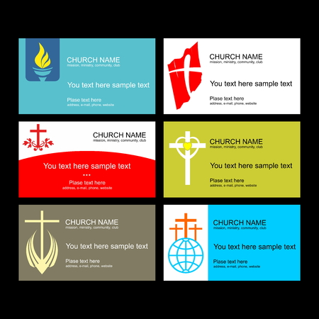 A set of business cards of the church, a ministry or mission, a club or camp, using a creative logo.