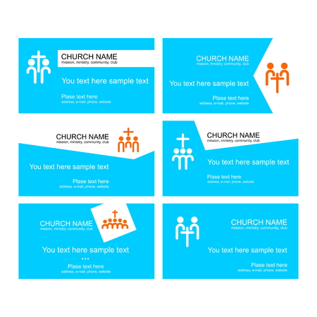 A set of business cards of the church, a ministry or mission, a club or camp, using a creative logo. Zdjęcie Seryjne - 107136160
