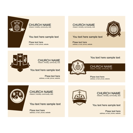 A set of business cards of the church, a ministry or mission, a club or camp, using a creative logo. Фото со стока - 107136156