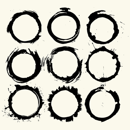 Collection of round strokes with black paint, strokes, brush strokes, stains and splashes, dirty lines, rough textures, prints of cups and glasses. Elements of artistic design.