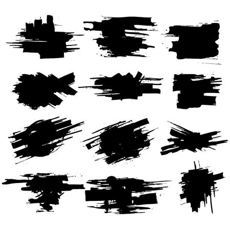 Sammlung von Abstrichen mit schwarzer Farbe, Strichen, Pinselstrichen, Flecken und Spritzern, schmutzigen Linien, rauen Texturen. Elemente des künstlerischen Designs.