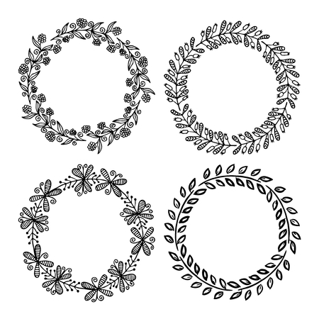 Hand drawn illustration - Laurels and wreaths. Design elements for invitations, greeting cards, quotes, blogs, posters and more. Perfect For Wedding Frames. Ilustração