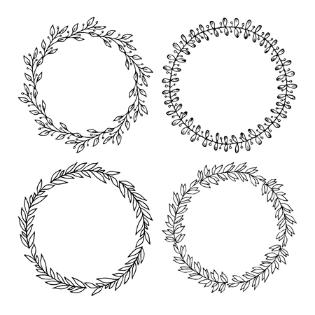 Hand drawn illustration - Laurels and wreaths. Design elements for invitations, greeting cards, quotes, blogs, posters and more. Perfect For Wedding Frames.  イラスト・ベクター素材