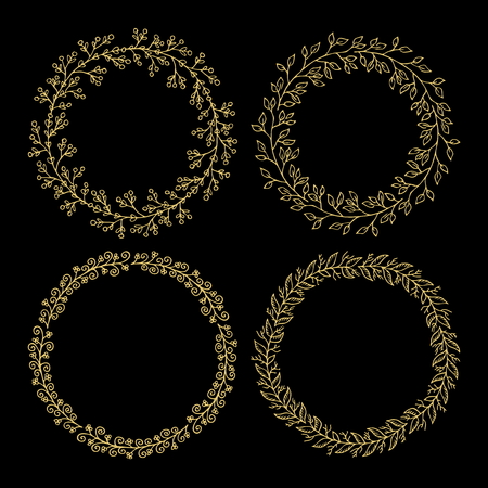 Hand drawn vector illustration - Laurels and wreaths. Design elements for invitations, greeting cards, quotes, blogs, posters and more. Perfect For Wedding Frames. 일러스트