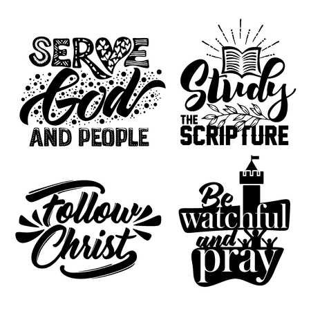 Christian typography and lettering. Illustration of the phrases of biblical motivation.