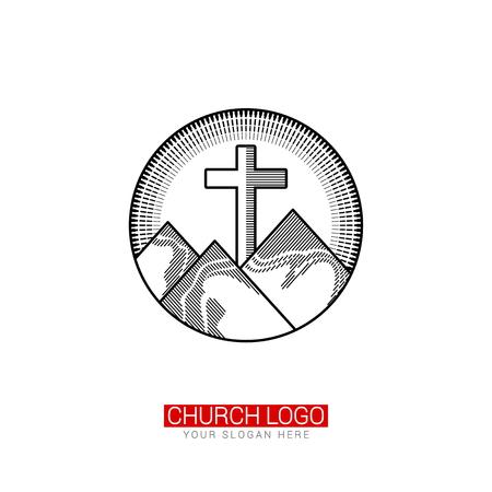 Church logo. Christian symbols. Crossing of the Savior