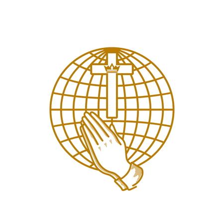 Church logo. Christian symbols. Jesus Christ on the background of the globe. 向量圖像