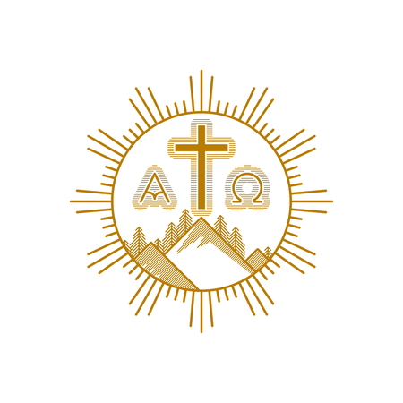 Church logo. Christian symbols. Mountains, the cross of Jesus Christ, alpha and omega.