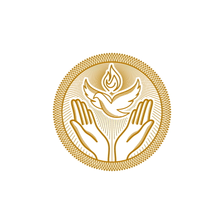 Church logo. Christian symbols. The symbols of the Holy Spirit are below and the praying hands. Çizim