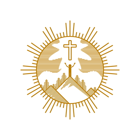 Church logo. Christian symbols. The man on the mountain worship of Jesus Christ.