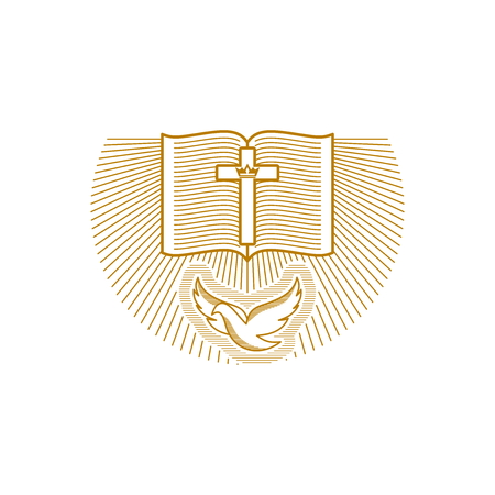 Church logo. Christian symbols. The Bible and the Dove
