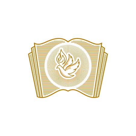 Logotipo de la iglesia. Símbolos cristianos. Paloma y la biblia. Logos