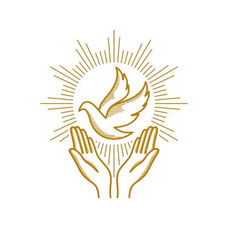 Kirchenlogo. Christliche Symbole. Betende Hände und Taube - ein Symbol des Heiligen Geistes.