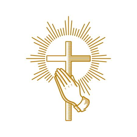 Logo della Chiesa. Simboli cristiani. Mani in preghiera e croce di Gesù Cristo.