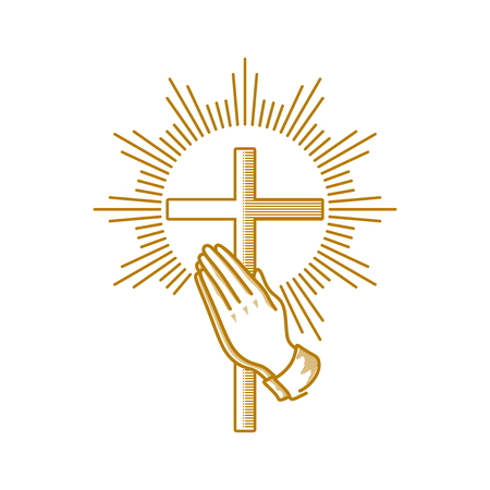 Church logo. Christian symbols. Praying hands and cross of Jesus Christ.