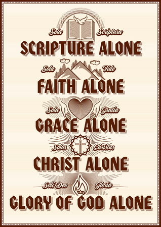 Christian poster. Five points of the Protestant theology. Sola Scriptura, Sola Gratia, Solus Christus, Sola Fide, Soli Deo Gloria.