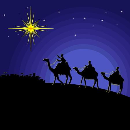 Bijbelse illustratie. Wijze mannen gaan naar Bethlehem. Vector Illustratie