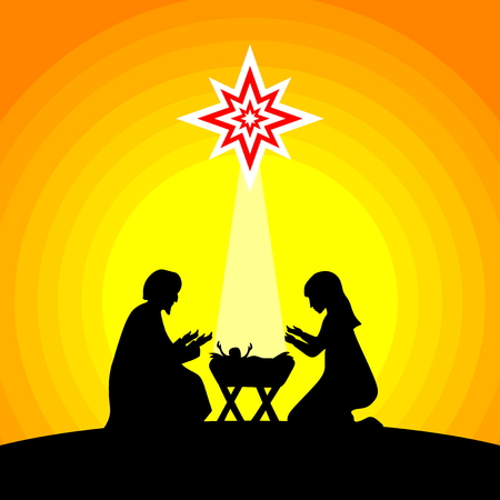 Biblical illustration. Christmas story. Mary and Joseph with the baby Jesus. Nativity scene near the city of Bethlehem.