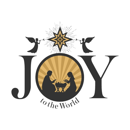 Christmas story. Bethlehem star. Joseph and Mary at the nursery of baby Jesus. Angels herald good news. Joy to the world.