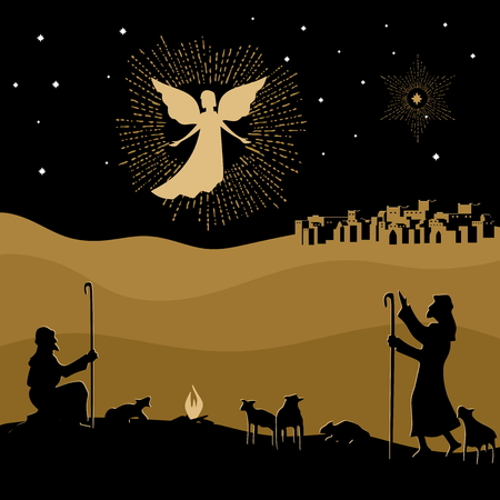 Christmas story. Night Bethlehem. An angel appeared to the world.