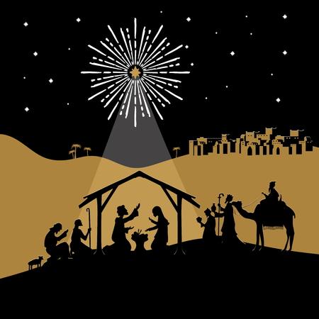 Biblische Abbildung. Weihnachtsgeschichte. Maria und Josef mit dem Jesuskind. Krippe in der Nähe der Stadt Bethlehem. Die Hirten und Weisen kamen, um den Christus anzubeten. Vektorgrafik