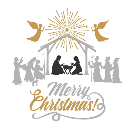 Biblical illustration. Christmas story. Mary and Joseph with the baby Jesus. Nativity scene near the city of Bethlehem. The shepherds and the wise men came to worship the Christ. Angels herald good news.