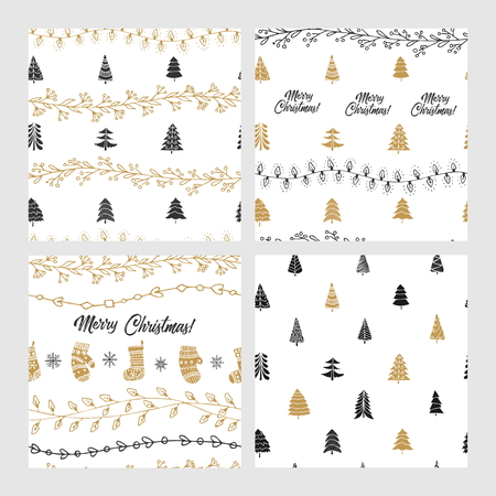 Beautiful seamless Christmas and winter patterns, drawn by hand. Many festive elements and patterns. Vector graphics and illustration. Vetores